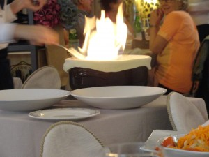 Mom and Aunt Karen's flammable risotto